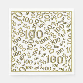 Gold Typography Any 100th Event Party/Celebration Paper Serviettes