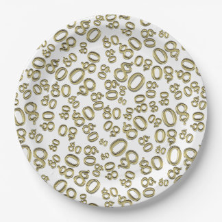 Gold Typography Any 80th Event Party/Celebration 9 Inch Paper Plate