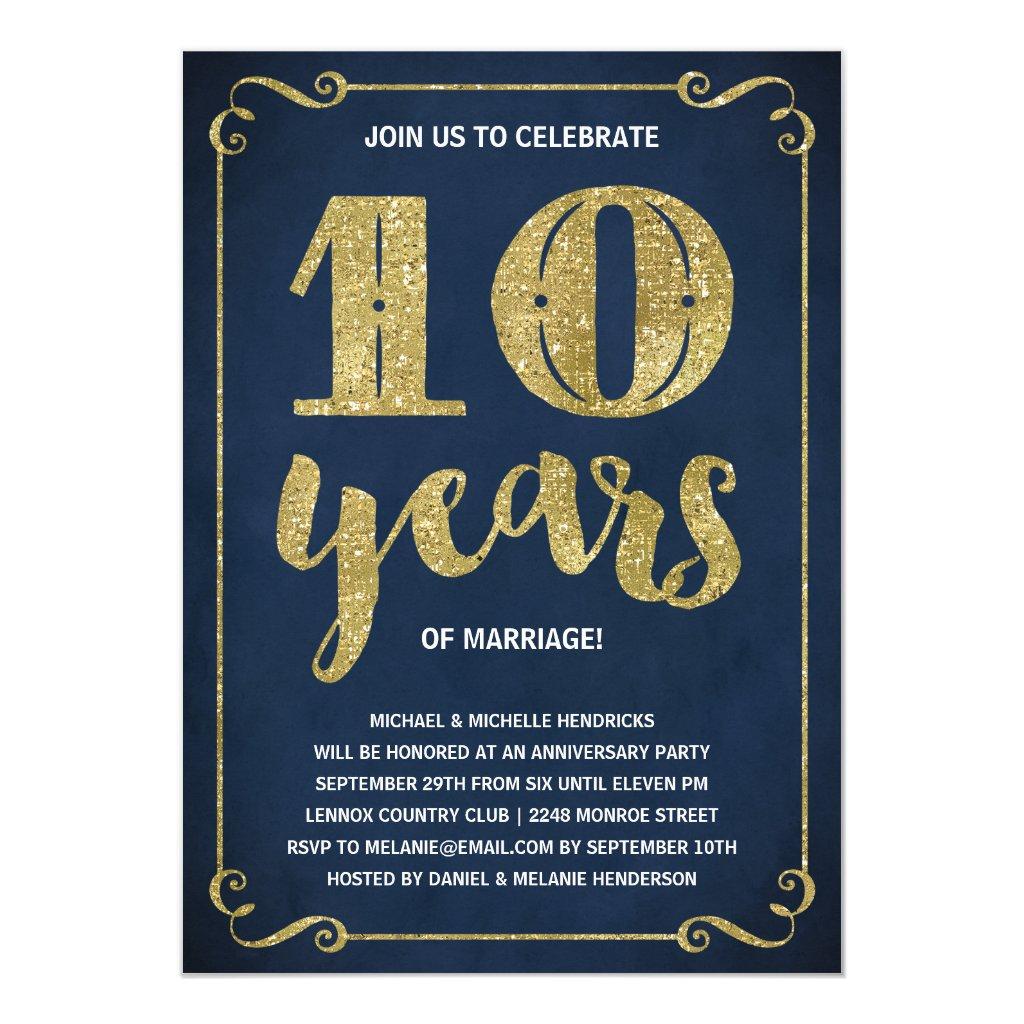 Gold 10th Anniversary Card