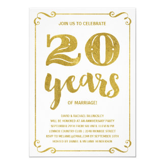 Gold Typography | Faux Foil 20th Anniversary 13 Cm X 18 Cm Invitation Card