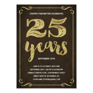 Gold Typography | Faux Foil 25th Birthday Party 13 Cm X 18 Cm Invitation Card