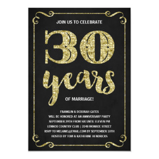 Gold Typography | Faux Foil 30th Anniversary 13 Cm X 18 Cm Invitation Card