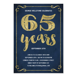 Gold Typography | Faux Foil 65th Birthday Party Card