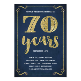 Gold Typography | Faux Foil 70th Birthday Party Card