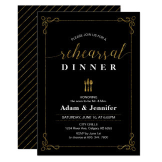 Gold Typography Wedding Rehearsal Dinner Card