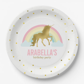 Gold Unicorn Girls Birthday Party 9 Inch Paper Plate