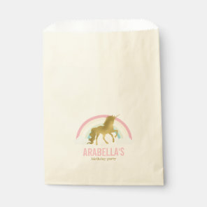 Gold Unicorn Girls Birthday Party Favour Bags
