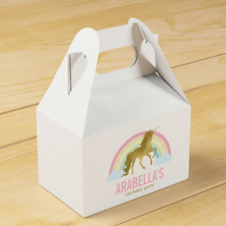 Gold Unicorn Girls Birthday Party Favour Box