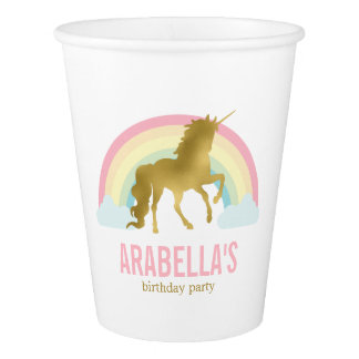 Gold Unicorn Girls Birthday Party Paper Cup