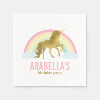 Gold Unicorn Girls Birthday Party Paper Napkin
