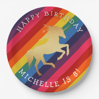 Gold Unicorn on Retro Rainbow Birthday Paper Plate