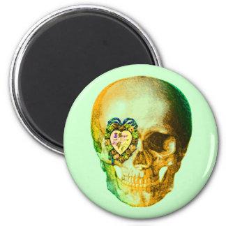 Gold Valentine Skull 6 Cm Round Magnet