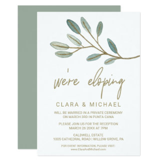 Gold Veined Eucalyptus Elopement Reception Card