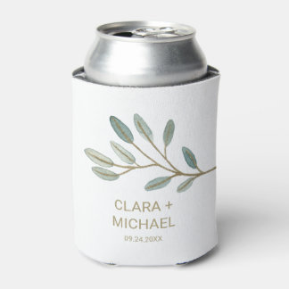 Gold Veined Eucalyptus Wedding Favor Can Cooler