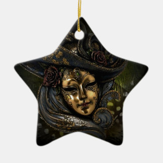 Gold Venetian carnival mask with blue hat Christmas Ornament