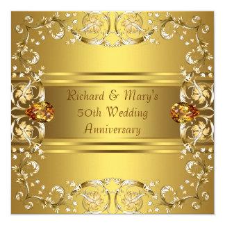 Gold Victorian Flowers Gold 50th Anniversary 13 Cm X 13 Cm Square Invitation Card