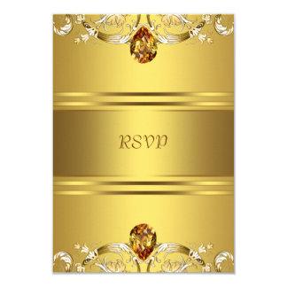 Gold Victorian Flowers Gold 50th Anniversary RSVP 9 Cm X 13 Cm Invitation Card