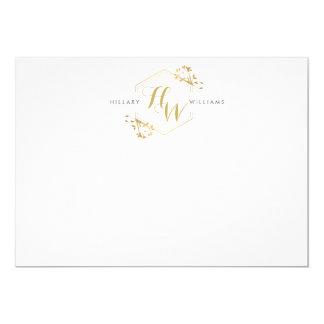 Gold Vine and Leaf Monogram Emblem Flat Notecard 13 Cm X 18 Cm Invitation Card