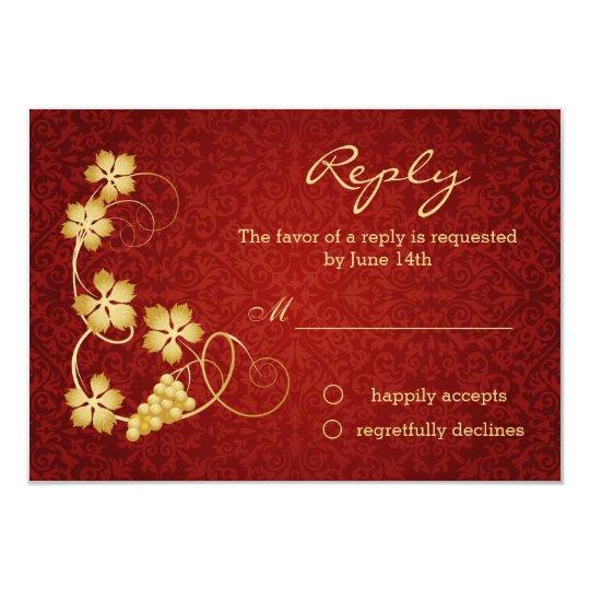 Gold vine leaves on red damask RSVP Invitation