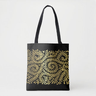 Gold Vine Pattern over Any Color Tote Bag
