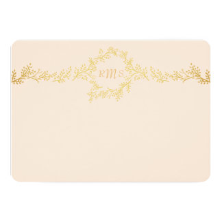 Gold Vines Personalized Monogram Stationery Card