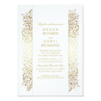Gold Vintage Baby's Breath - Filigree Wedding 13 Cm X 18 Cm Invitation Card