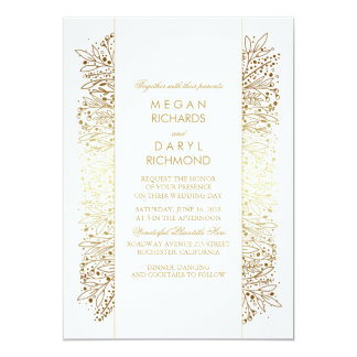 Gold Vintage Baby's Breath - Filigree Wedding Card