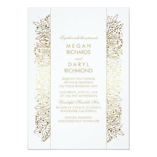 Gold Vintage Baby's Breath - Filigree Wedding Card