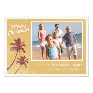 Gold Vintage Beach Photo Christmas Cards Invitations