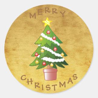 Gold Vintage Christmas Tree Round Sticker