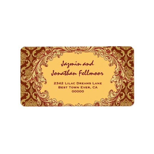 Gold Vintage Curlicue Damask S455 Address Label