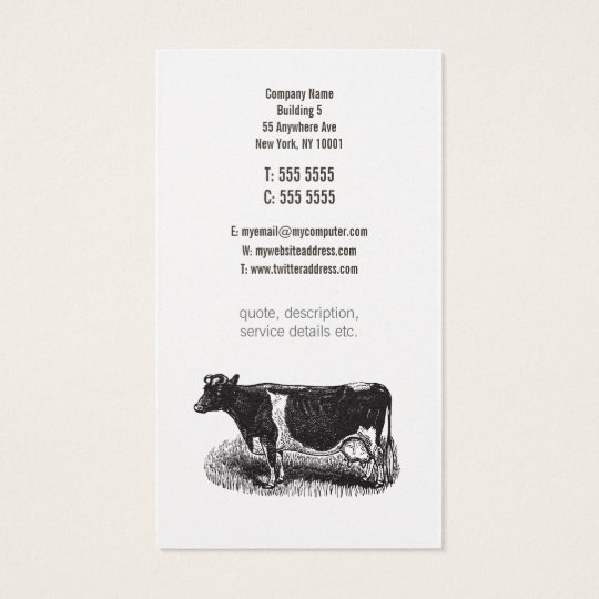 Gold Vintage Dairy Cow Farmer Butcher Business Business