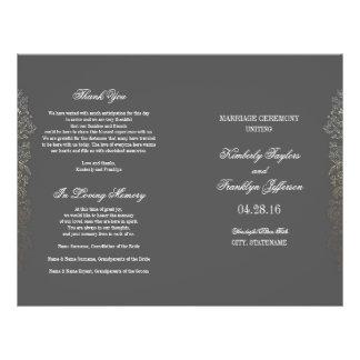 Gold Vintage Floral Grey Wedding Programs 21.5 Cm X 28 Cm Flyer
