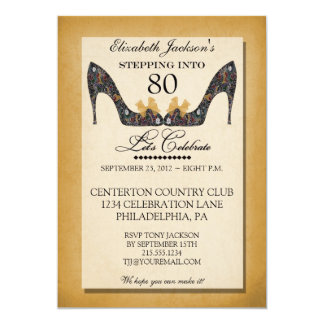 Gold Vintage Floral Shoe 80th Birthday Invitation