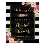 Gold Vintage Floral Stripes Bridal Shower Sign Poster