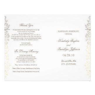 Gold Vintage Floral Wedding Programs 21.5 Cm X 28 Cm Flyer