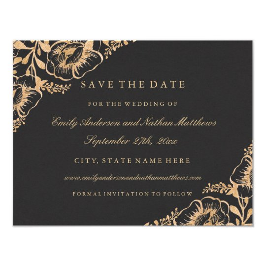 Gold Vintage Floral Wedding Save The Date Card