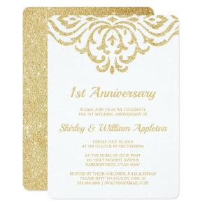 Gold Vintage Glam Elegant 1st Wedding Anniversary Invitation