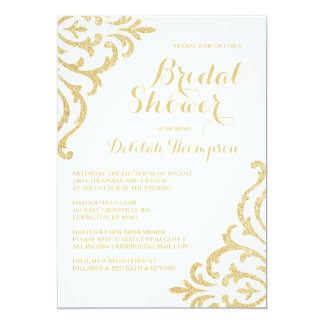 Gold Vintage Glam Elegant Bridal Shower Invitation