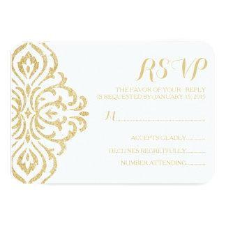 Gold Vintage Glamour Elegance Wedding RSVP Card 9 Cm X 13 Cm Invitation Card