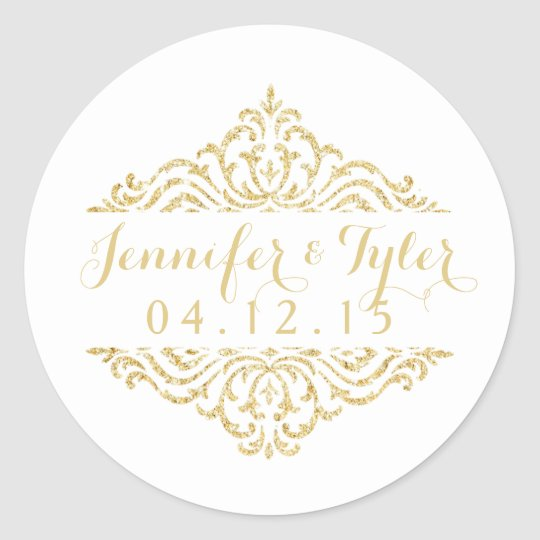 Gold Vintage Glamour Elegance Wedding Stickers