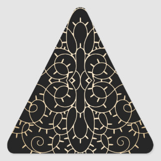 Gold vintage lace scroll design on black triangle sticker
