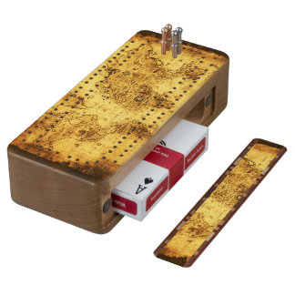 Gold Vintage Old World Map Design Cherry Cribbage Board
