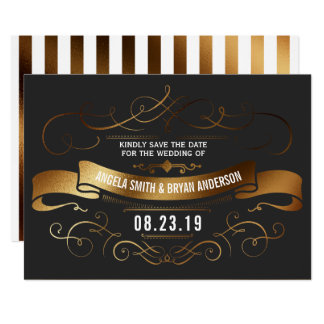 Gold vintage ornate save the date card