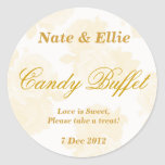 Gold Vintage Rose Candy Buffet Sticker