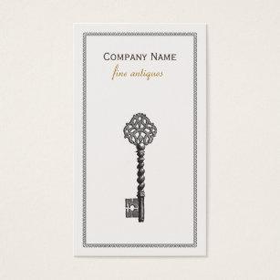 Furniture dealer business cards business card printing zazzle uk gold vintage skeleton key antique furniture store business card reheart Images