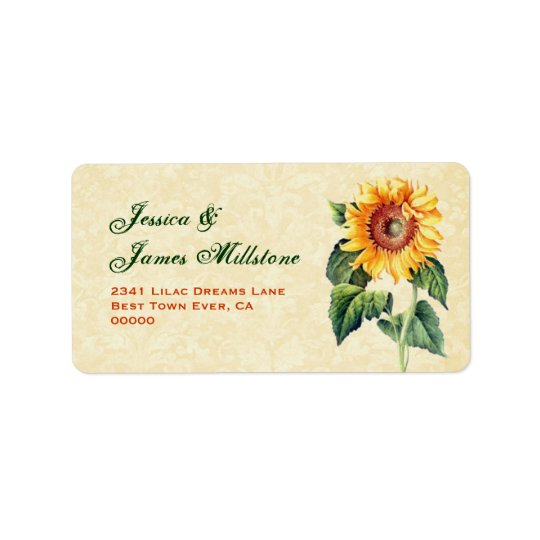Gold Vintage Sunflower Address Label