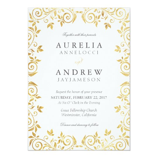 Gold Vintage Wedding Invitation