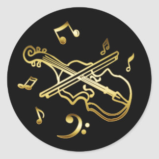 GOLD VIOLIN ROUND STICKER