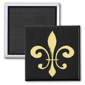 Gold Washout Fleur De Lis Square Magnet